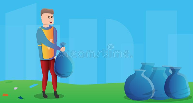 O voluntário recolhe a bandeira do conceito dos sacos de lixo, estilo dos desenhos animados ilustração do vetor