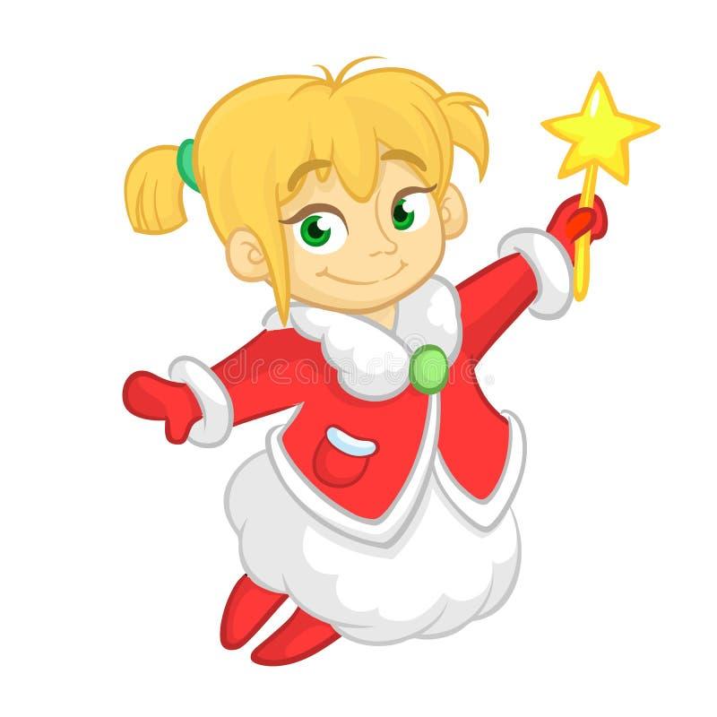 O voo bonito e a terra arrendada do caráter do anjo do Natal dos desenhos animados star Vector a ilustração da fada loura do inve ilustração do vetor