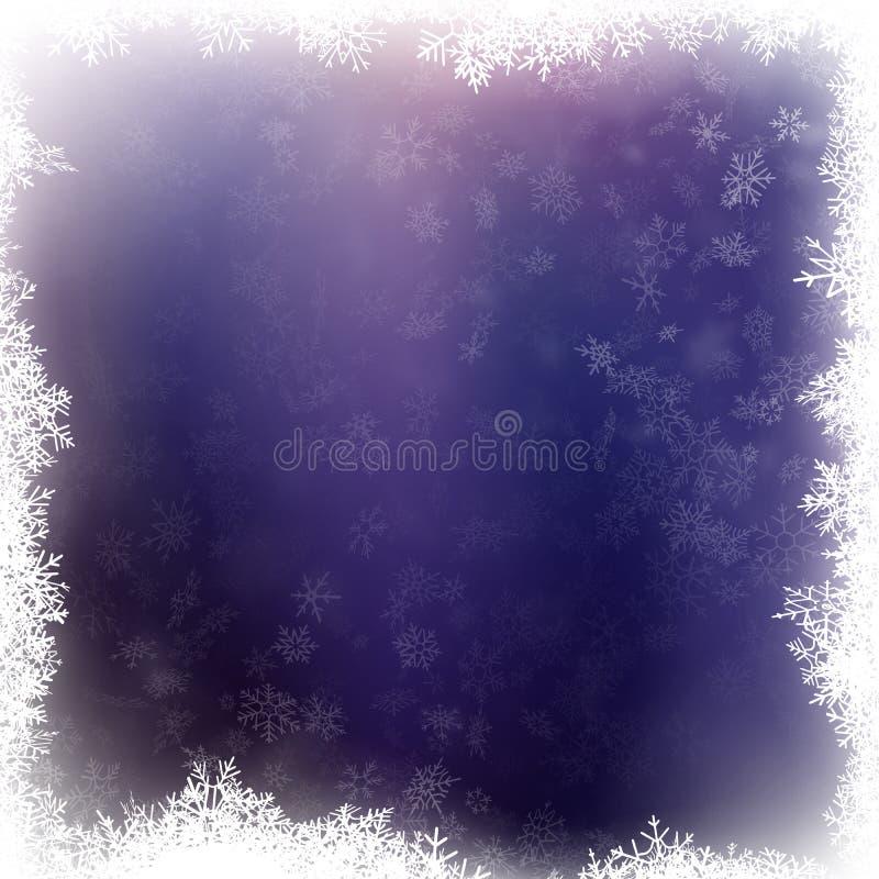 O voo, o cartão ou a bandeira do floco de neve com elementos da neve, confetes dos flocos dispersam Símbolos do inverno do tempo  ilustração royalty free