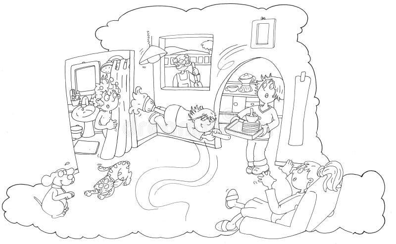 O voo da menina com interior da mágica da vassoura em casa toda a surpreendida, lombo tirado pela cor ilustração royalty free