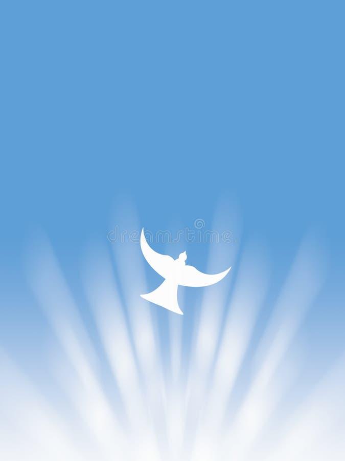 O voo da pomba do branco da paz do Espírito Santo da Páscoa através do sol irradia a ilustração ilustração stock