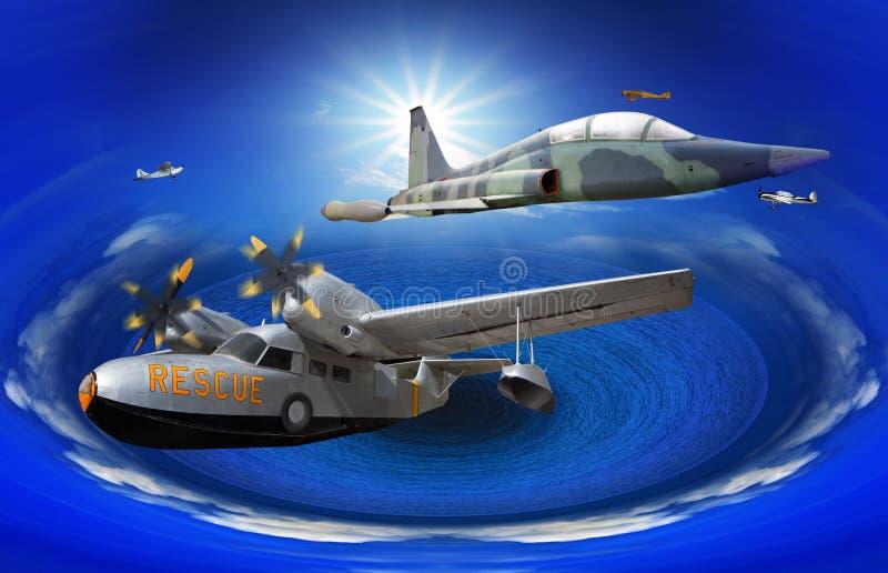 o voo de pode plano clássico velho amável sobre o oceano do azul da fantasia ilustração stock