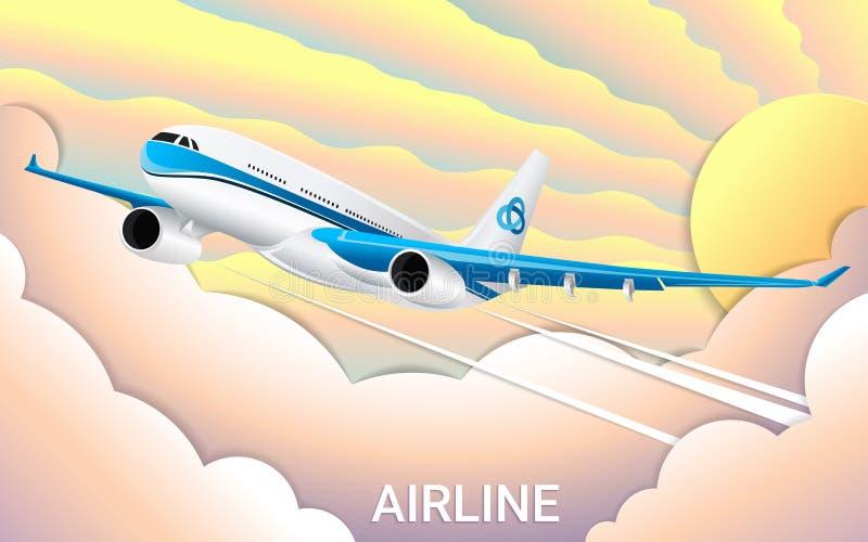 O voo de um avião do passageiro Papel cortado Inclinações elegantes da cor Curso ilustração royalty free