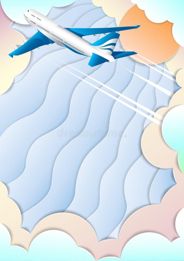 O voo de um avião de passageiros do passageiro Aviões Céu colorido, sol brilhante e nuvens O efeito do papel cortado ilustração royalty free