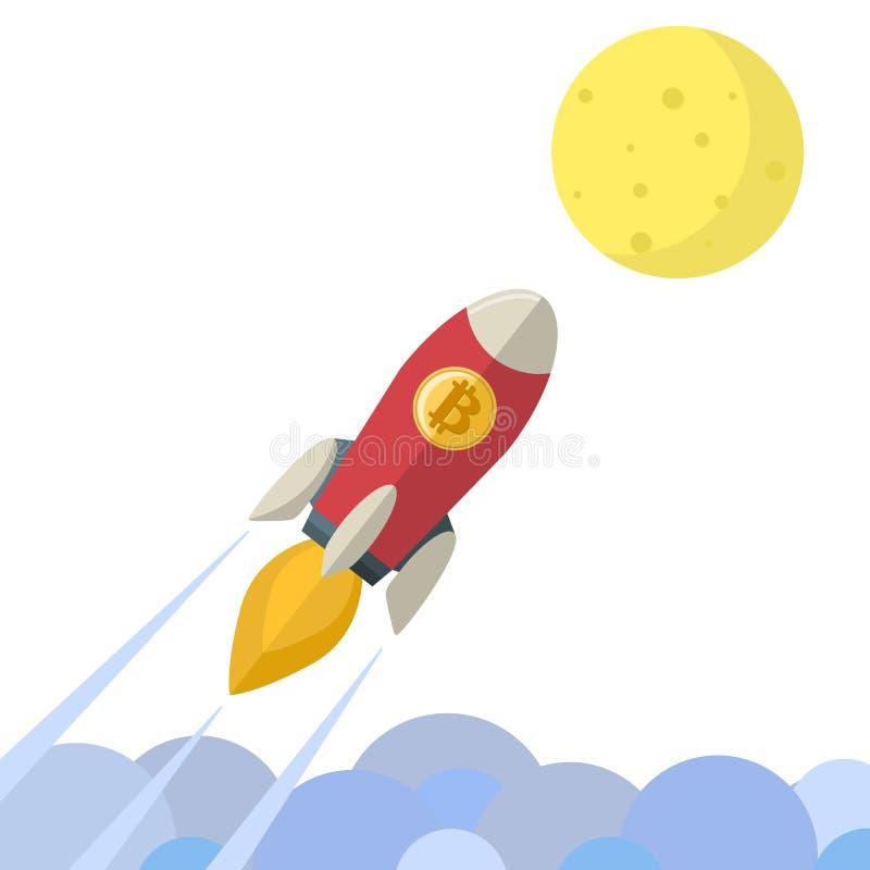O voo do foguete da moeda de Bitcoin vai aos desenhos animados da lua ilustração stock