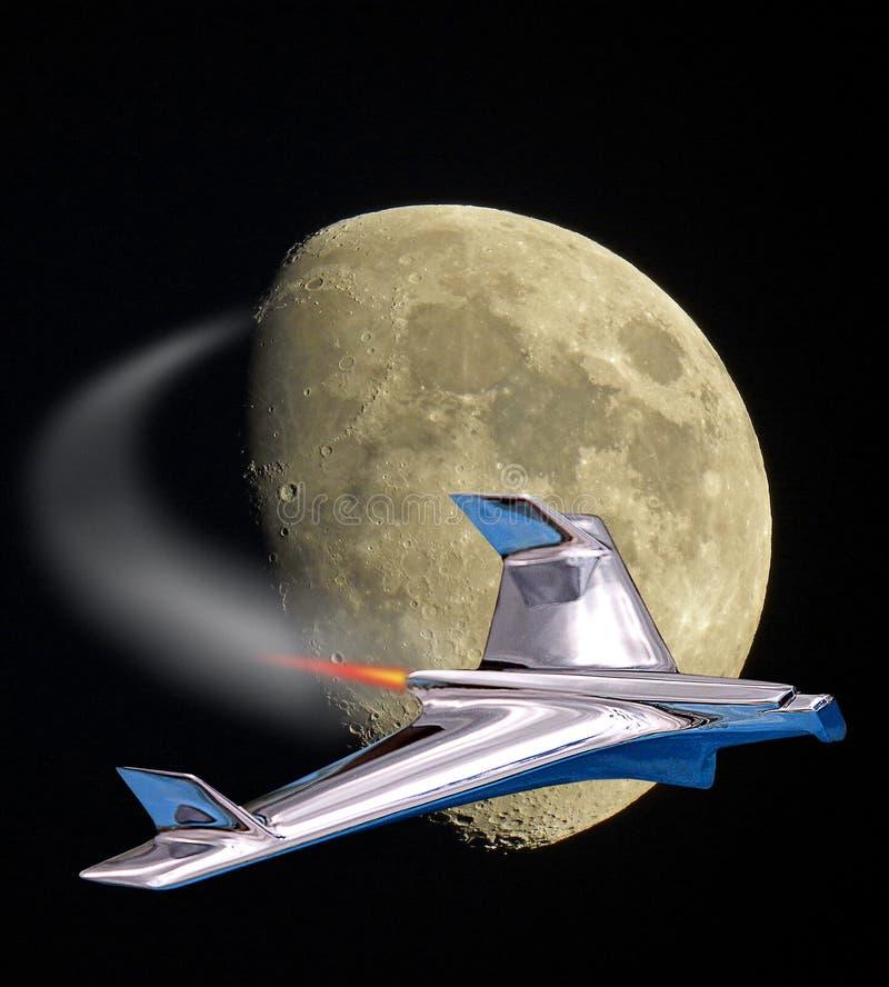O voo do foguete de Spacex a estraga o voo à viagem equipada galáxia da lua ilustração do vetor
