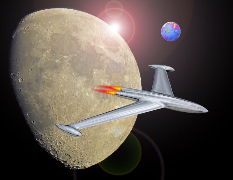 O voo do foguete do jato na viagem do espaço a estraga a missão aeroespacial da mosca da galáxia ilustração stock