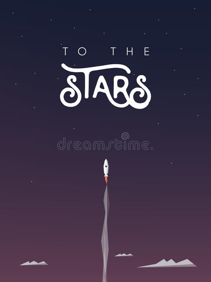 O voo do homem com um foguete ao protagoniza como o símbolo do crescimento e do progresso pessoais da carreira, desenvolvimento E ilustração stock