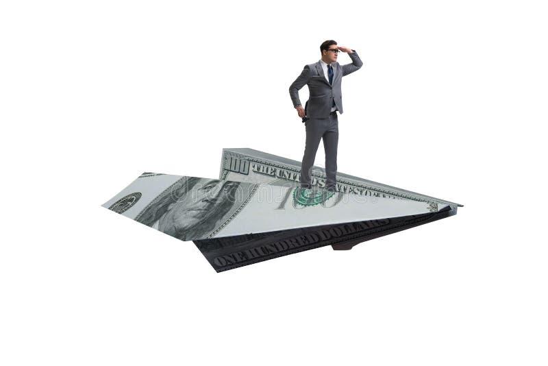 O voo do homem de negócios no plano de papel no conceito do negócio fotos de stock royalty free