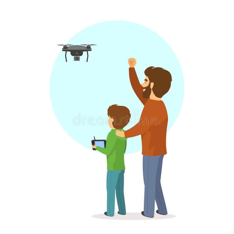 O voo do pai e do filho que pilota um zangão isolou a ilustração do vetor