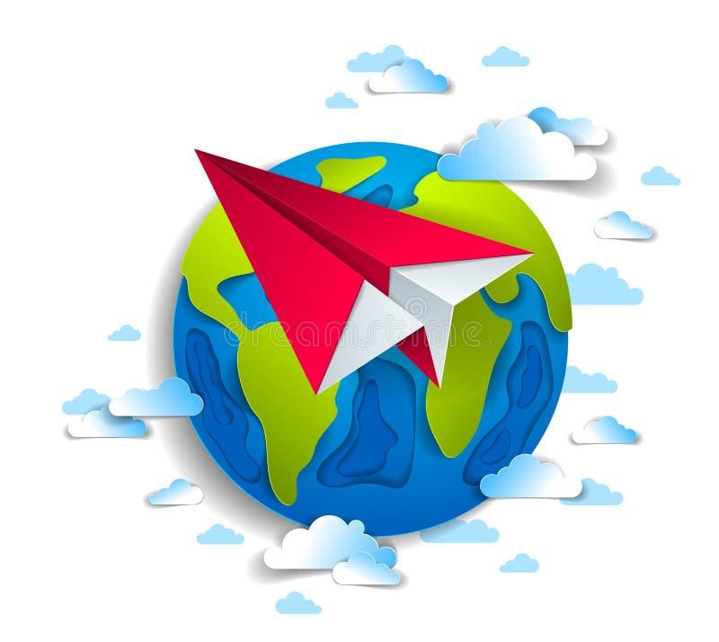 O voo dobrado origâmi do plano do brinquedo em torno do papel dos desenhos animados cortou a orelha ilustração do vetor