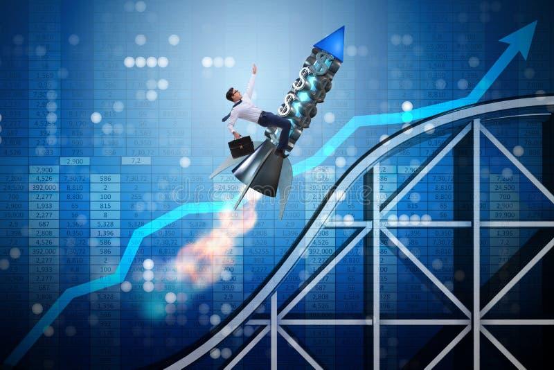 O voo masculino do homem de negócios no foguete no conceito do negócio ilustração do vetor