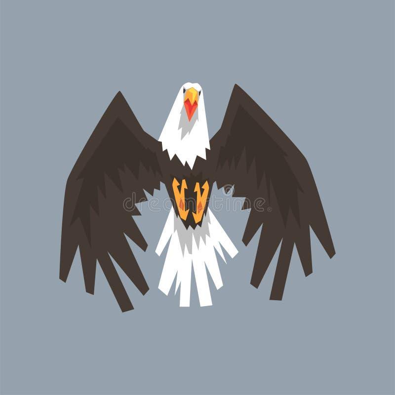 O voo norte-americano do caráter da águia americana, o símbolo da liberdade e a independência vector a ilustração ilustração stock