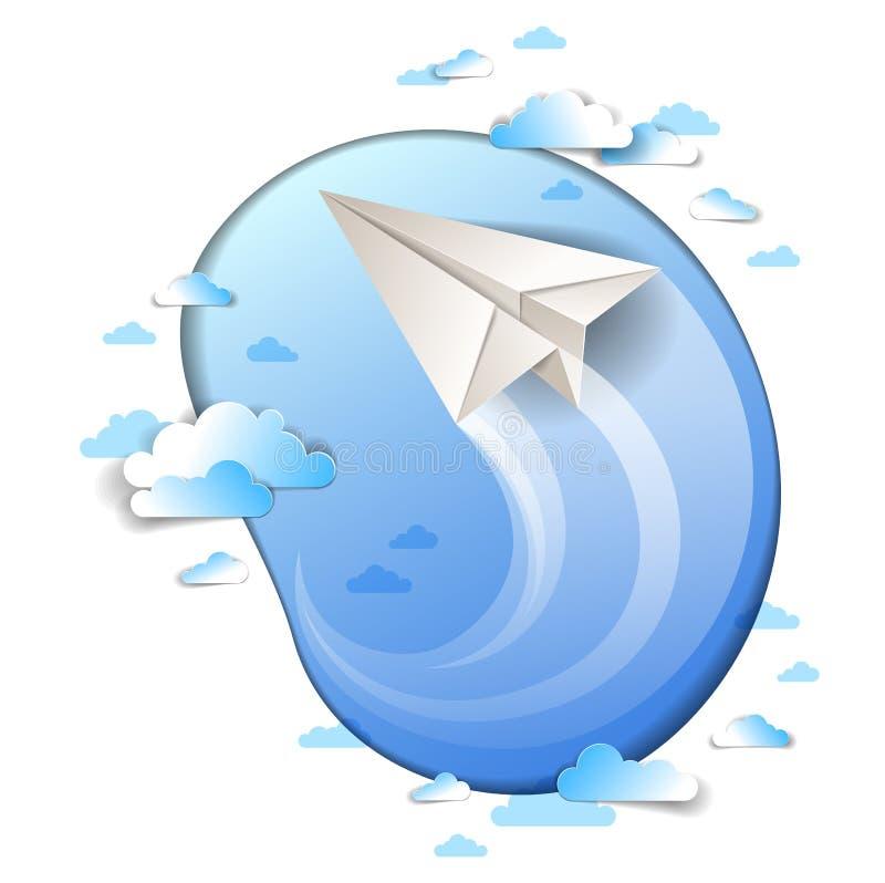 O voo plano de papel no céu nebuloso cênico, origâmi dobrou o avião do brinquedo no cloudscape bonito, ilustração do vetor, linha ilustração do vetor