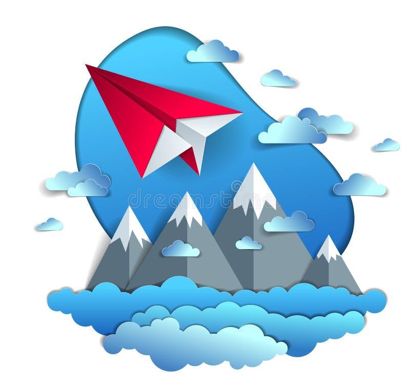 O voo plano de papel no céu nebuloso sobre a paisagem cênico da cordilheira, origâmi dobrou o avião do brinquedo na natureza boni ilustração do vetor