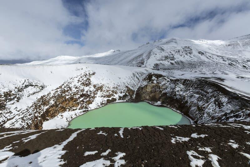 O vulcão gigante Askja oferece uma vista em dois lagos da cratera A menor, turquesa uma é chamada Viti e contém o wate geotérmica fotografia de stock