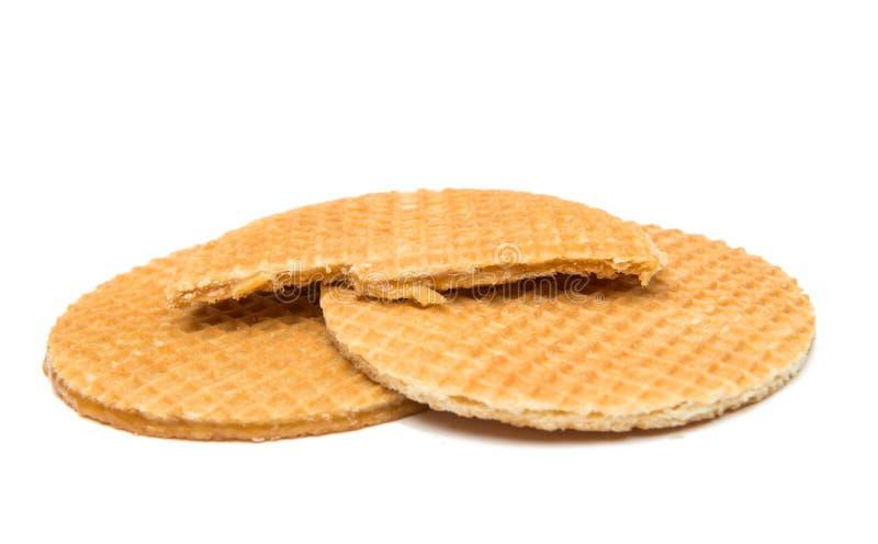 O waffle holandês chamou um stroopwafel isolado foto de stock