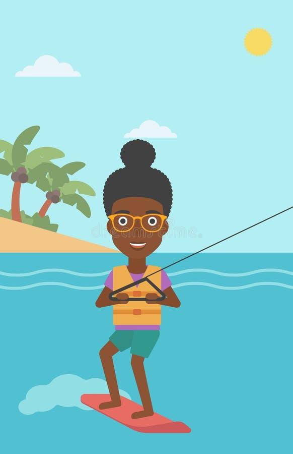 O wakeboard profissional ostenta a mulher ilustração royalty free