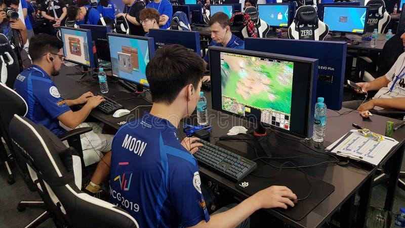 O WCG 2019 de jogos de Cyber de mundo do jogo olímpico do jogo do eSport o evento 'Xi 'no, China fotos de stock royalty free