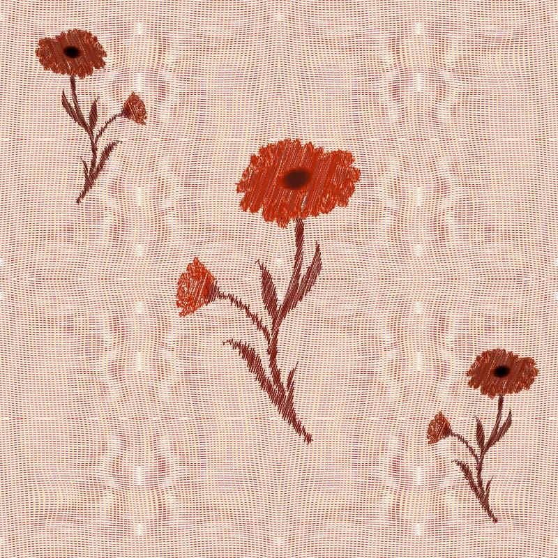 O Weave entrelaça-se o teste padrão sem emenda com applique floral ilustração royalty free