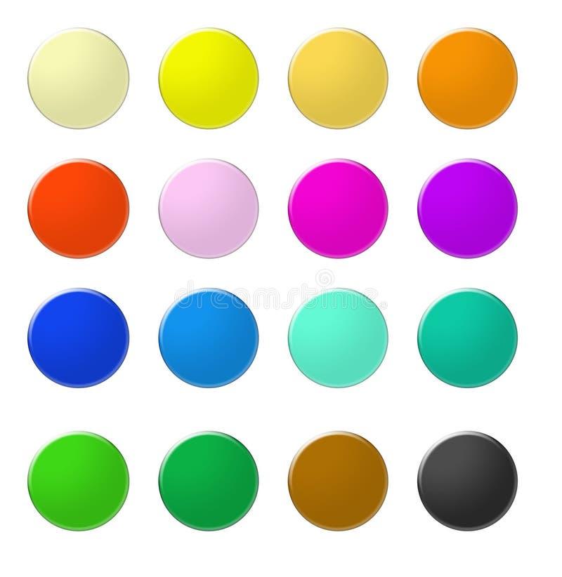 O Web do arco-íris abotoa 5 ilustração do vetor