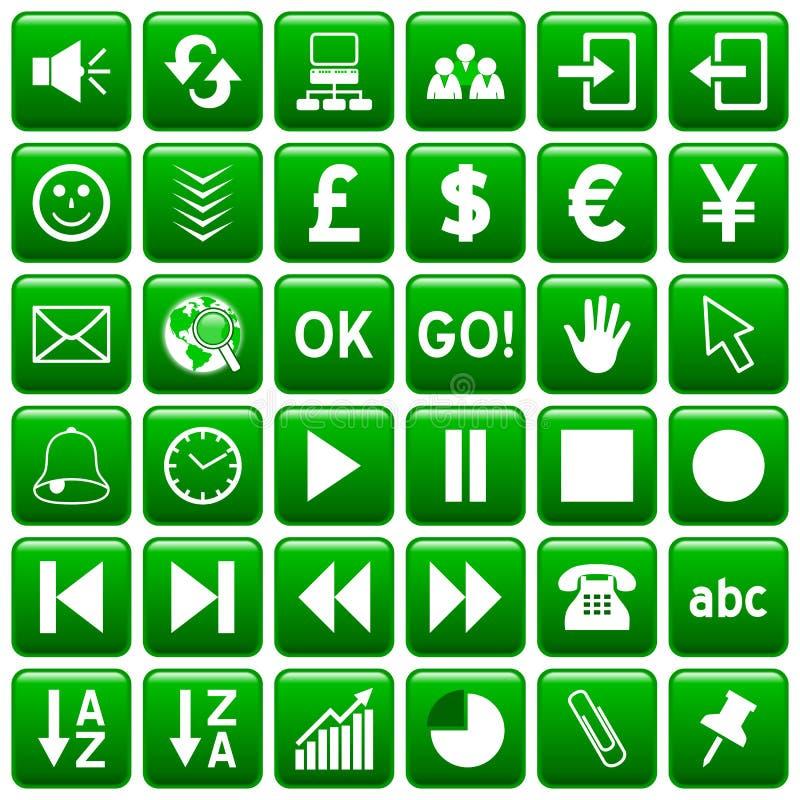 O Web quadrado verde abotoa-se [3] ilustração do vetor