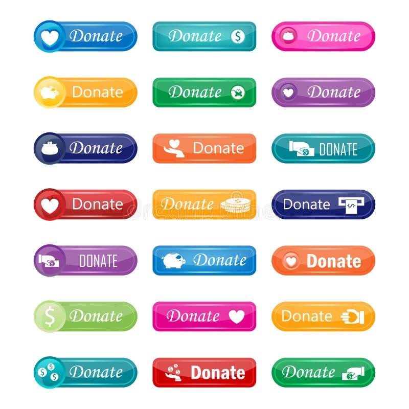 O Web site colorido doa a ilustração que do vetor do projeto dos botões o Internet gráfico lustroso da etiqueta confirma o molde ilustração royalty free