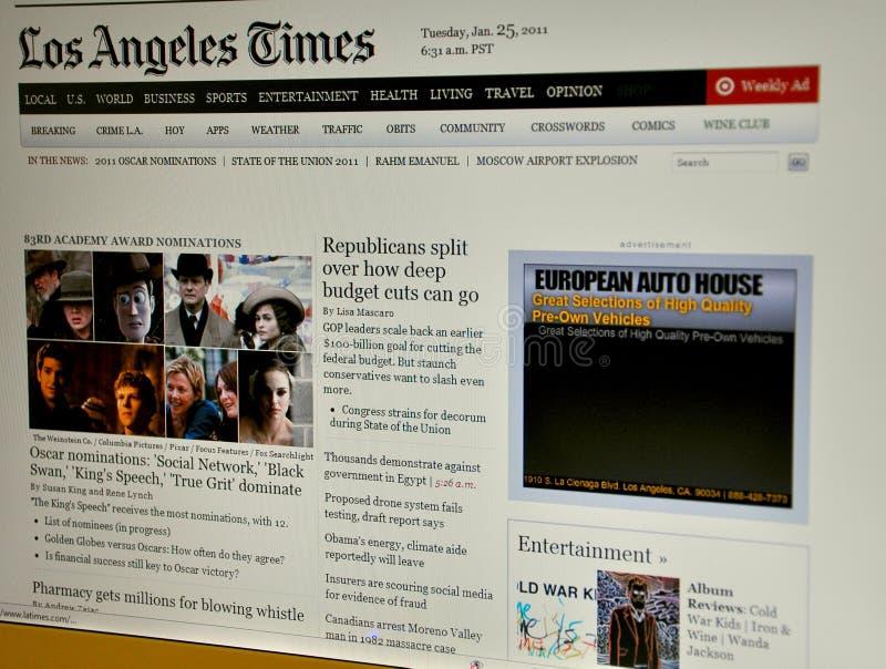 O Web site de Los Angeles Times fotos de stock royalty free
