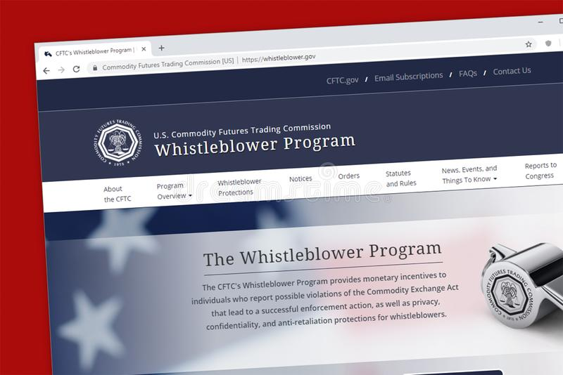 O Web site do programa do Whistleblower de Commodity Futures Trading Commission CFTC do Estados Unidos imagem de stock