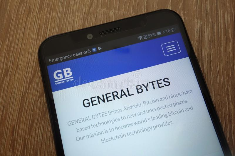 O Web site geral dos bytes indicou em um smartphone moderno fotografia de stock royalty free