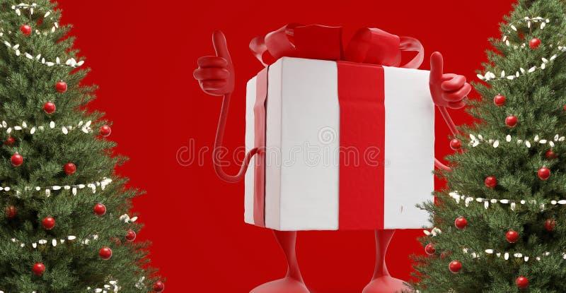 O White Christmas vermelho apresenta a figura mascote que os polegares levantam 3d-illustration ilustração stock