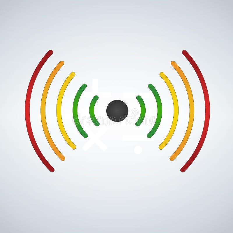 o wifi ou as ondas sadias, desvanecem-se com a distância, colorida Ilustração do vetor no fundo moderno ilustração stock