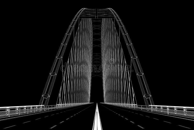 o wireframe 3d rende de uma ponte ilustração stock