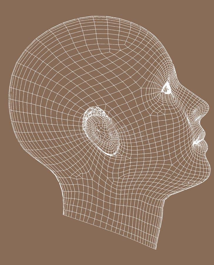 o wireframe da Metade-face rende a mulher nova ilustração royalty free