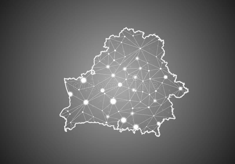 O wireframe do vetor engrena poligonal do mapa de belarus Estrutura global abstrata da conex?o Mapa conectado com as linhas e os  ilustração do vetor