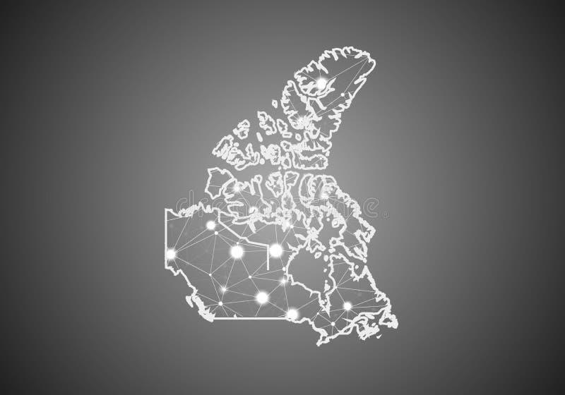 O wireframe do vetor engrena poligonal do mapa de Canadá Estrutura global abstrata da conex?o Mapa conectado com as linhas e os p ilustração stock