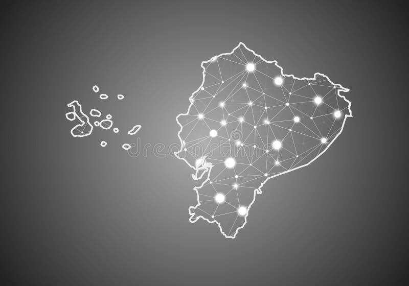 O wireframe do vetor engrena poligonal do mapa de Equador Estrutura global abstrata da conex?o Mapa conectado com as linhas e os  ilustração stock