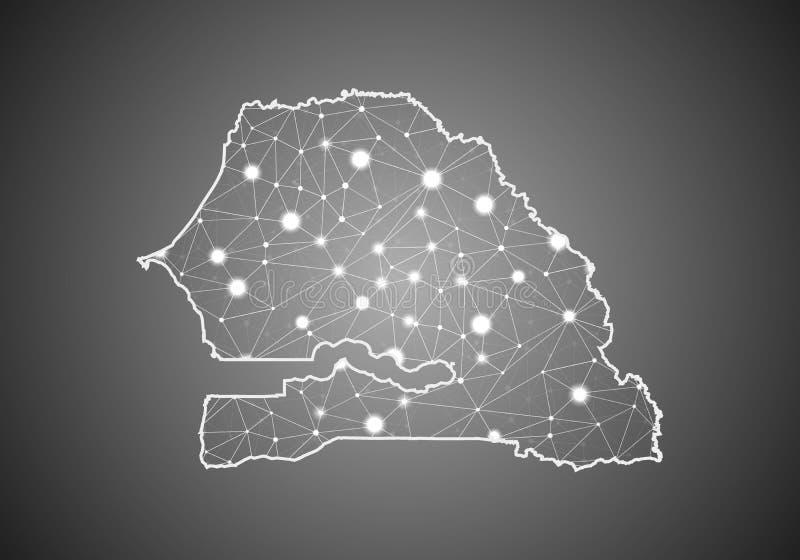 O wireframe do vetor engrena poligonal do mapa de senegal Estrutura global abstrata da conex?o Mapa conectado com as linhas e os  ilustração stock