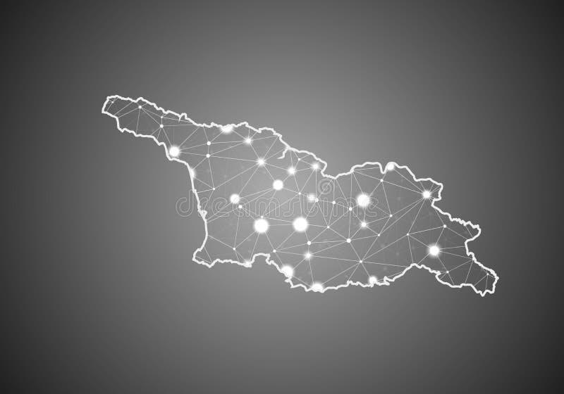 O wireframe do vetor engrena poligonal do mapa sul de Geórgia Ossetia Estrutura global abstrata da conex?o Mapa conectado com as  ilustração stock