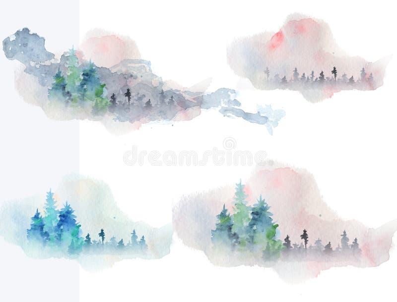 O woddland abstrato da aquarela, silhueta dos abeto com cinzas e espirra, fundo do inverno ilustração royalty free