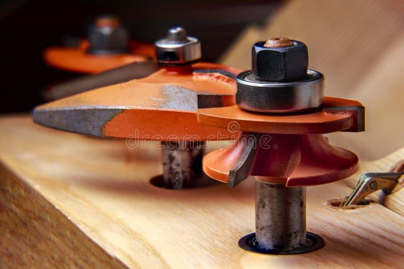 O Woodworking levantou o grupo do cortador do painel fotos de stock