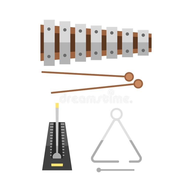 O xilofone e dois malhos no instrumento de percussão sadio musical do fundo do hite e na melodia do ritmo do divertimento objetam ilustração royalty free