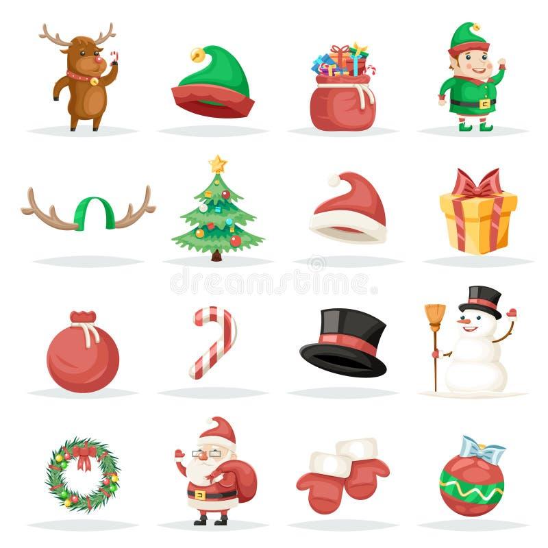 O Xmas do feriado de inverno do ano novo do Natal isolou a ilustração ajustada ícones do vetor do projeto dos desenhos animados ilustração do vetor