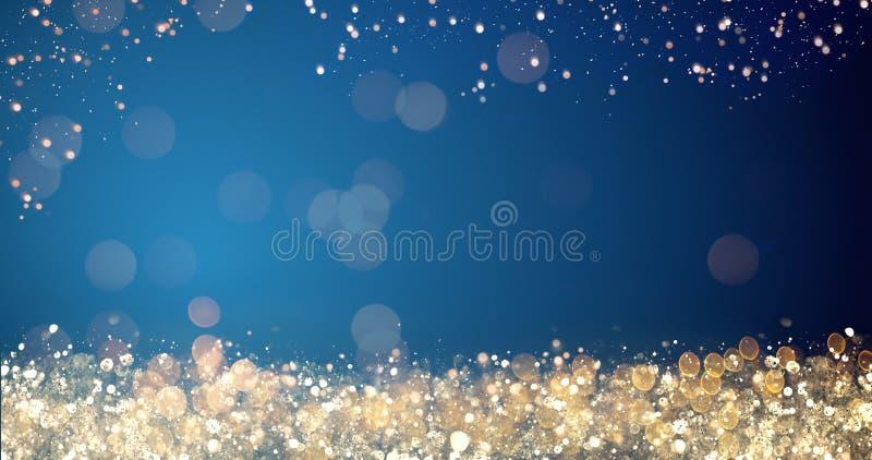 O xmas dourado e de prata ilumina-se no fundo azul para o Feliz Natal ou a mensagem dos cumprimentos da estação, decoração brilha ilustração royalty free