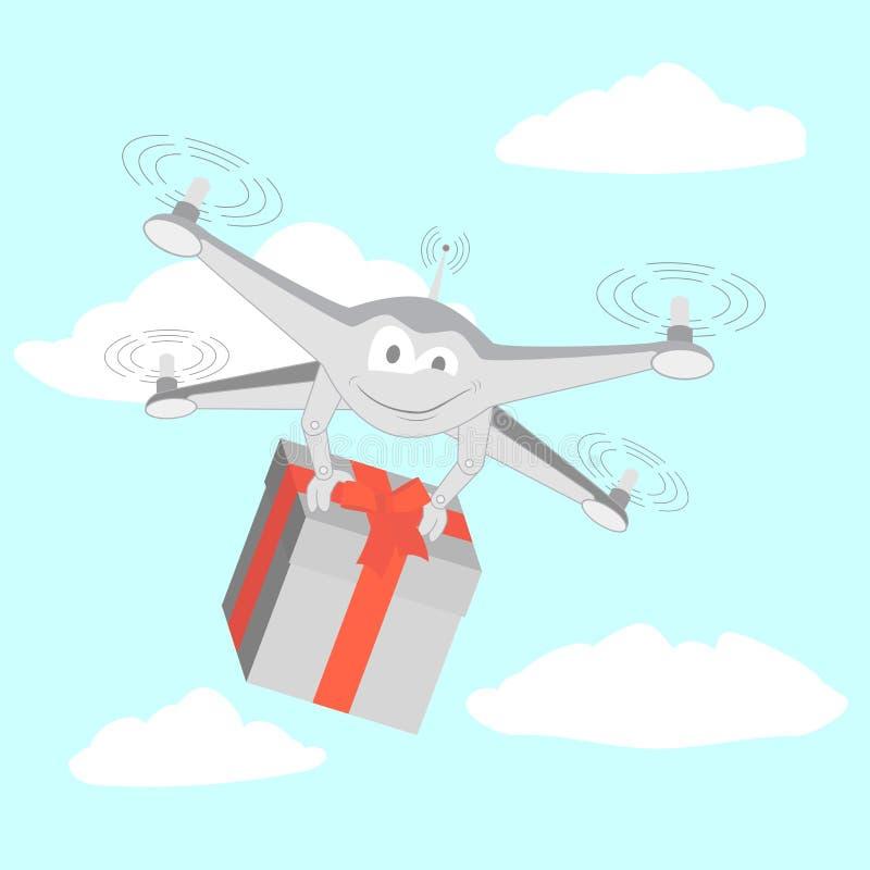 O zangão entrega presentes engraçados ilustração royalty free