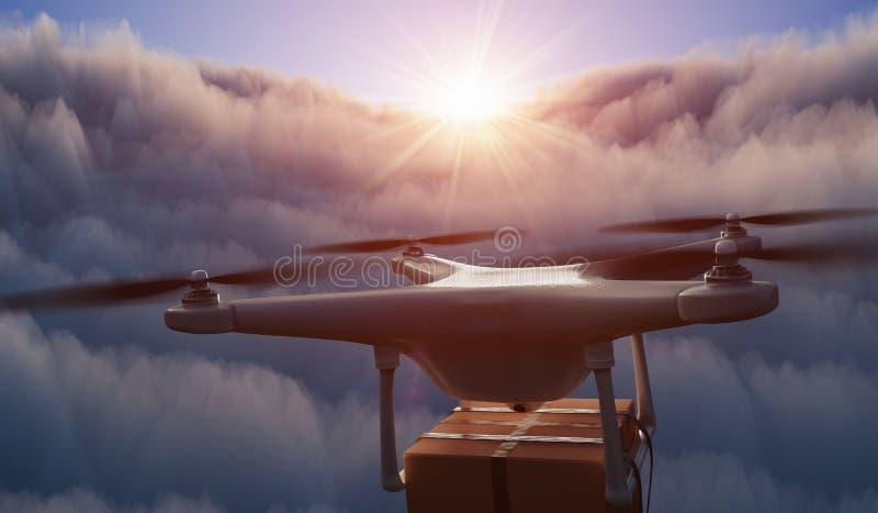 O zangão está voando acima das nuvens e está entregando o pacote no por do sol 3D rendeu a ilustra??o ilustração do vetor