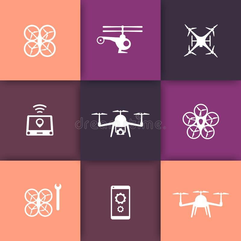 O zangão, helicóptero, ícones redondos do quadrocopter ajustou-se, sinais com zangões ilustração stock