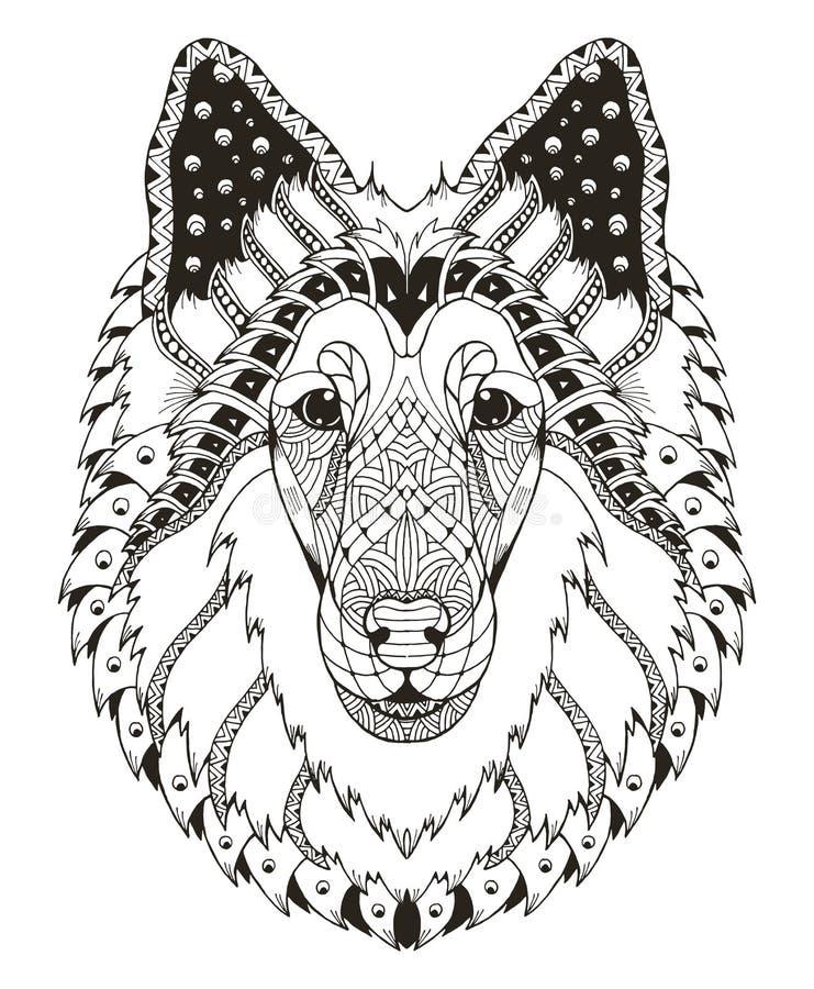 O zentangle áspero da cabeça de cão da collie estilizou, vector, ilustração, ilustração stock