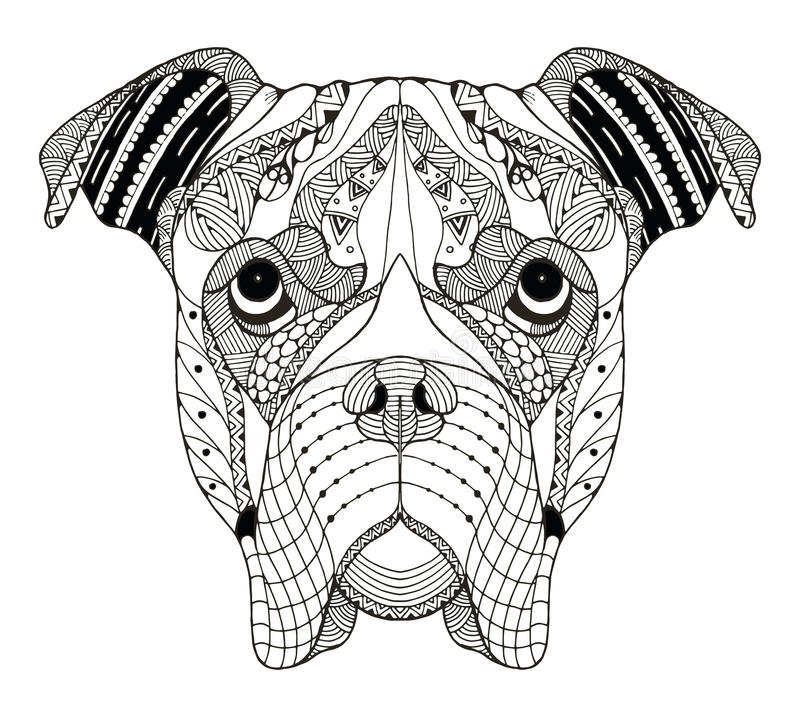 O zentangle da cabeça de cão do pugilista estilizou, vector, ilustração, freehan ilustração do vetor