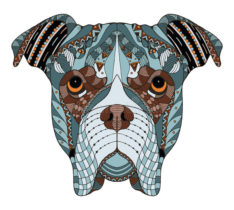 O zentangle da cabeça de cão do pugilista estilizou, vector, ilustração, freehan ilustração royalty free